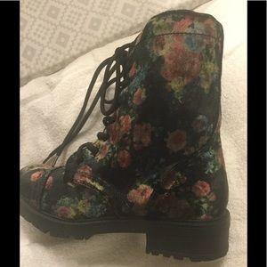 Madden Girl Flowered Crushed Velvet Combat Boot